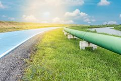 Raw water pipeline and distribution parallel of the road, Water pipeline Stock Photo