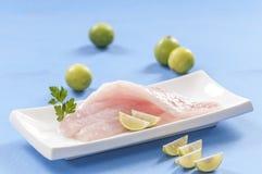 Raw white fish fillets with tomatoes and fresh oregano & Lemon slice Royalty Free Stock Images