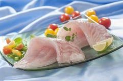 Raw white fish fillets with tomatoes and fresh oregano & Lemon slice Stock Image