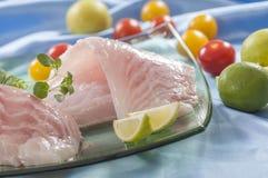 Raw white fish fillets with tomatoes and fresh oregano & Lemon slice Royalty Free Stock Photo