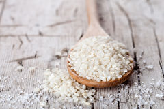 Raw white rice in spoon Royalty Free Stock Images