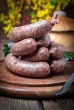 Raw white sausage. Stock Image