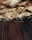 Raw White Sorghum grain. On a wooden table Royalty Free Stock Images