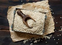 Raw White Sorghum grain. On a wooden table Royalty Free Stock Photo
