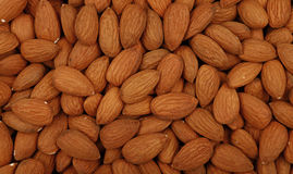 Raw whole almond nuts close up top view Royalty Free Stock Photos