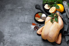 Raw whole chicken, herbs, spices and lemon Royalty Free Stock Photos