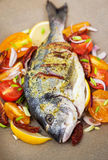 Raw whole sea bream fish and vegetables ingredients Stock Images