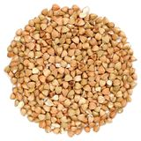 Raw Wholegrain Green Buckwheat In Round Shape, Isolated Stock Photography