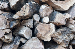 Raw wood stack. Wood for fireplaces, raw wood stack Royalty Free Stock Photography