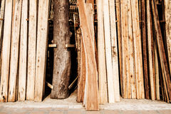 Raw wood stored Stock Photo