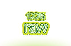 100% raw word text logo icon typography design. 100% raw word or text logo badge on a white background Royalty Free Stock Photos