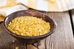 Raw yellow Lentils. Portion of raw yellow Lentils (detailed close-up shot Royalty Free Stock Photos
