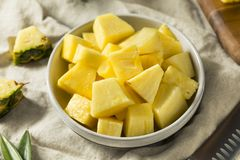 Raw Yellow Organic Pineapple Slices stock photo