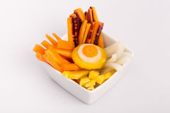 Raw yellow, white, orange, red carrots. Variety of raw carrots, vitamines, diet and health Royalty Free Stock Photo