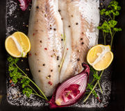 Raw Zander Fish fillet on backing tray with lemon, herbs and red onion. Top view Stock Photography