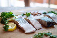 Raw zander fish fillets with lemon slices and herbs. Raw zander fish fillets with lemon slices and herbs on a wooden cutting board Royalty Free Stock Photo