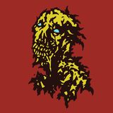 Raw zombie with saliva flowing from his mouth. Vector illustration. Royalty Free Stock Photography