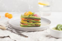 Raw vegan zucchini lasagna with vegetables and pesto sauce, ligh stock image