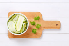 Raw zucchini strips Stock Images