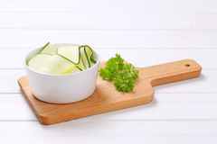 Raw zucchini strips Royalty Free Stock Images