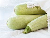 Raw on zucchini white background Royalty Free Stock Image