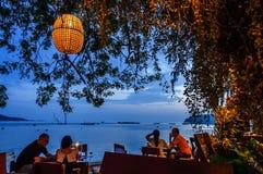 Beachside restaurant, Rawai beach, Phuket, Thailand stock images