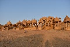 rawal国王美丽的古老纪念碑bada baagh jaisalmer的拉贾斯坦印度 免版税图库摄影
