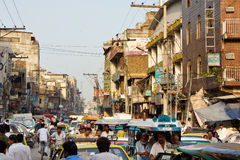 Raja Bazaar in Rawalpindi, Pakistan. RAWALPINDI, PAKISTAN - JULY 16: Heavy traffic at Raja Bazaar on July 16, 2011 in Rawalpindi, Pakistan. Raja Bazaar is the Royalty Free Stock Images