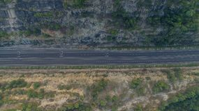 Rawang旁路在` Rawang雪兰莪`的旁路高速公路在日出期间 免版税图库摄影