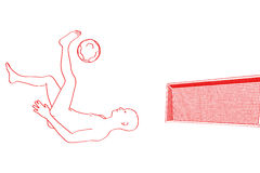 Rawing in red from a bicycle kick in front of a soccer goal Stock Photography
