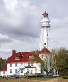 Rawley Point Lighthouse. In early spring. Located in Wisconsin on Lake Michigan. It is the tallest of its kind on the lake Stock Photo