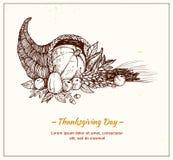 Rawn vector illustration - Thanksgiving day. Cornucopia Royalty Free Stock Image