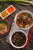 Rawon, sop buntut and mie ayam. Traditional Indonesian culinary stock photo