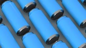 Raws de las latas de soda azules Imagen de archivo libre de regalías