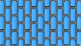 Raws de las latas de soda azules Imagen de archivo