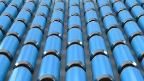 Raws de las latas de soda azules Fotografía de archivo