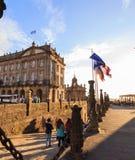 Raxoi宫殿的看法在圣地亚哥孔波斯特拉 图库摄影