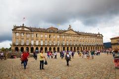 Raxoi宫殿的看法在孔波斯特拉的圣地牙哥,西班牙 免版税库存图片