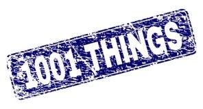 Rayé 1001 CHOSES a encadré le timbre arrondi de rectangle Illustration Libre de Droits