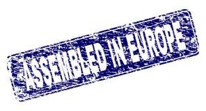 Rayé RÉUNI EN EUROPE a encadré le timbre arrondi de rectangle illustration libre de droits