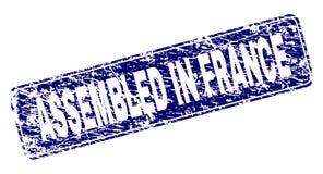 Rayé RÉUNI en FRANCE a encadré le timbre arrondi de rectangle illustration libre de droits
