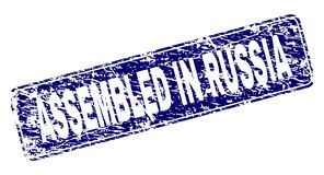 Rayé RÉUNI en RUSSIE a encadré le timbre arrondi de rectangle illustration stock