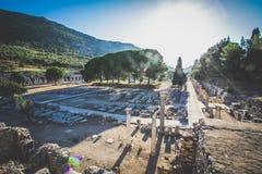 Ray światło przy Ephesus ruinami Fotografia Stock