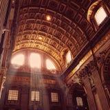 Ray de lumière mystique, basilique du ` s de St Peter, Vatican photos stock