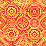 Ray flower red yellow symmetry bright seamless pattern Stock Photo