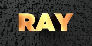 Ray - Goldtext auf schwarzem Hintergrund - 3D übertrug freies Bild der Abgabe auf Lager Stockbild
