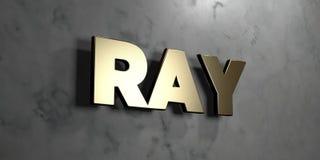 Ray - Gouden teken opgezet op glanzende marmeren muur - 3D teruggegeven royalty vrije voorraadillustratie Stock Foto's