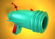 Ray gun. 3D rendering of a ray gun with orange background Stock Photos