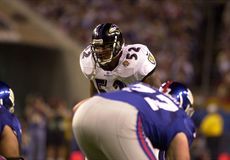 Ray Lewis, Super Bowl XXXV. Baltimore Ravens LB Ray Lewis, #52.  (Image taken from color slide Stock Photography