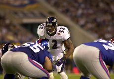 Ray Lewis in Super Bowl XXXV. Baltimore Ravens LB Ray Lewis.  (Image taken from color slide Royalty Free Stock Photography